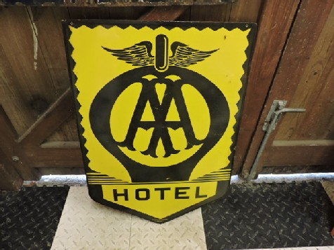 Early AA enamel hotel sign