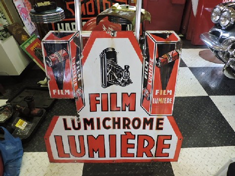 Rare double sided enamel French Lumiere camera film sign