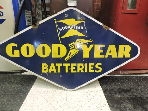 Double sided enamel Good Year batteries sign