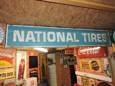 1949 National tires embossed tin sign