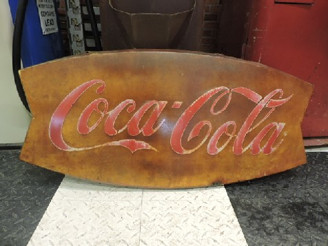 1960s tin Coca Cola fishtail sign