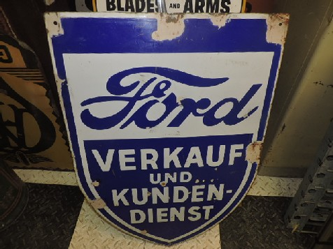 Original German Ford sales and service enamel shield sign