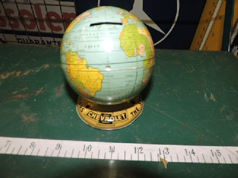 Vintage circa 1950s original Chevrolet Globe Money Box