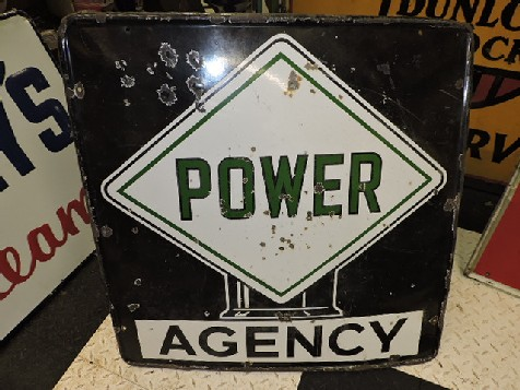 1930s Power agency enamel sign