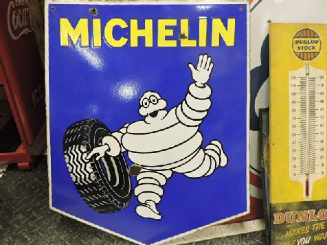 Double sided Michelin tyres enamel sign