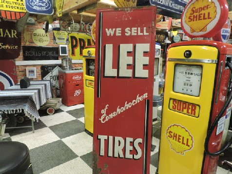 Original 1940s embossed tin Lee tires sign