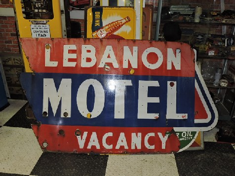 Lebanon Motel enamel and neon sign