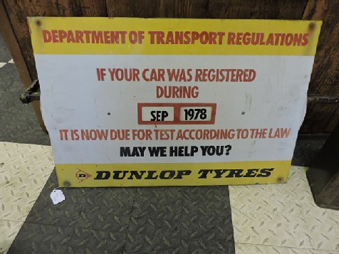 Original tin Department of Transport Regulations Dunlop Tyres sign