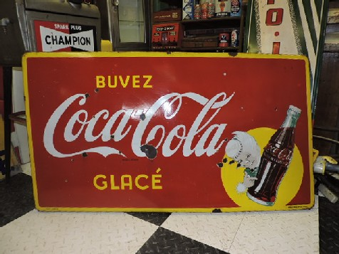 Original enamel 1948 Coca Cola Sprite Boy sign