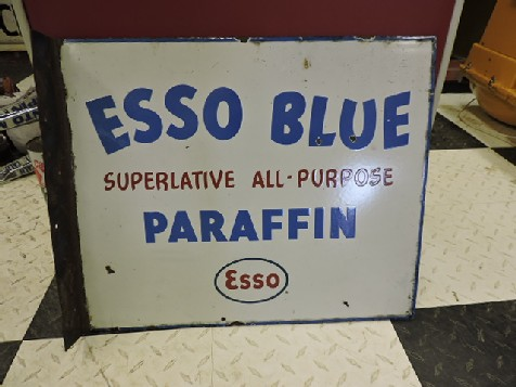 Esso blue paraffin enamel sign