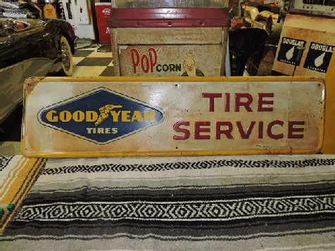 1961 Goodyear tires embossed sign