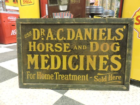 Original circa 1920s horse and dog medicine remedy metal sign