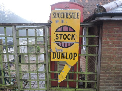 Original double sided enamel Dunlop stock tyre arrow sign