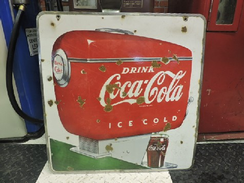 Double sided enamel 1940s Coca Cola soda fountain sign