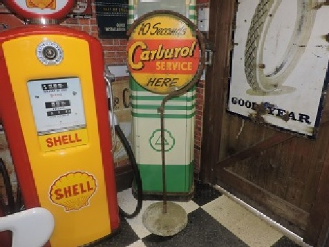 Rare double sided Carburol lollipop sign