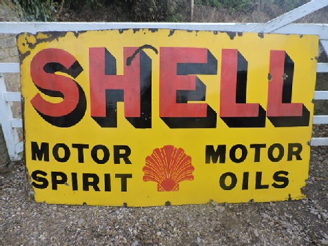 Huge early Shell 1910-20s enamel sign