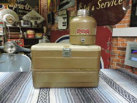 Original 1950s Little Brown Jug thermos and Little Brown chest cooler