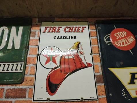 1960 Texaco fire chief enamel sign
