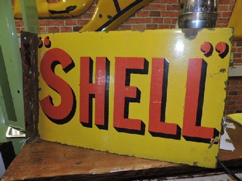 Double sided Shell enamel flange sign