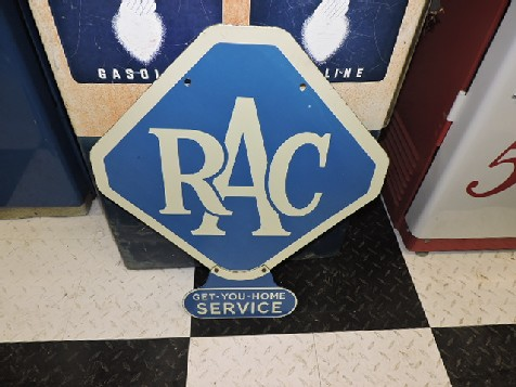 Double sided enamel RAC Get You Home Service sign
