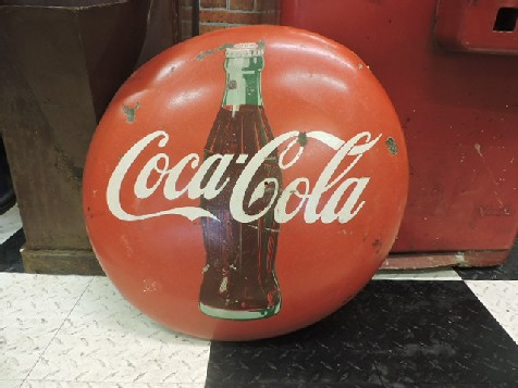 24 inch enamel Coca Cola button