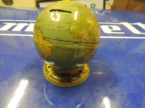 1938 Chevrolet tin globe money box
