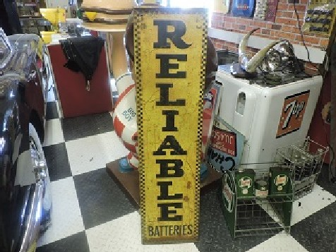 1940s Reliable batteries embossed tin sign