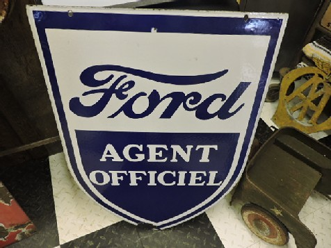 Double sided enamel Ford agent officiel sign