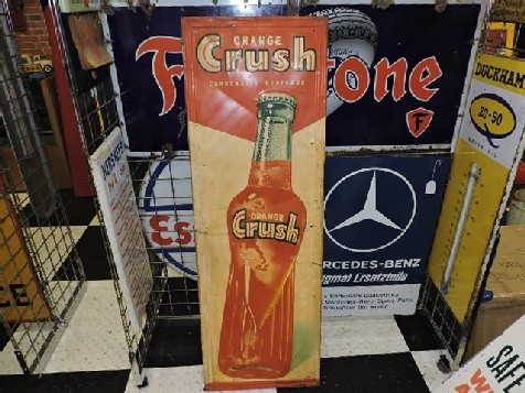 1950s embossed tin Orange Crush sign