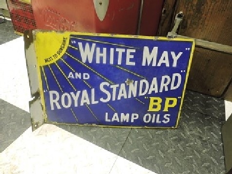 Enamel White May and Royal Standard BP lamp oils flange sign
