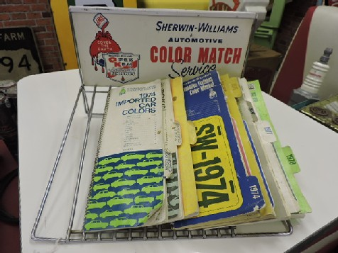 Sherwin Williams car colour books and rack
