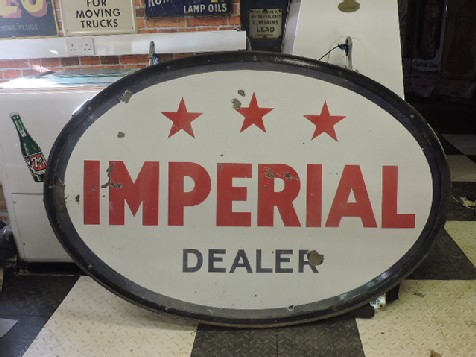 Original 1950s double sided enamel Esso Imperial gas station sign