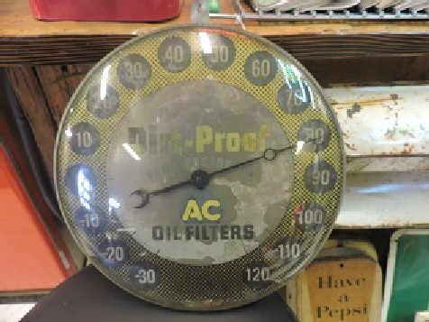 1950s AC oil filters round thermometer sign