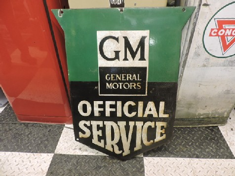 Original 1950s enamel GM General Motors Offical Service shield sign
