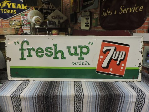 Original 1960s embossed tin Fresh Up with 7 Up sign