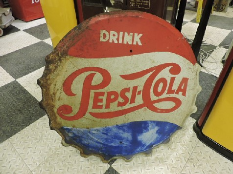 Original 1950s tin Pepsi bottle top sign