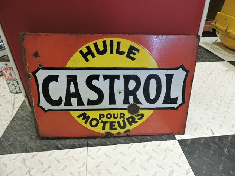 French Castrol enamel flange sign