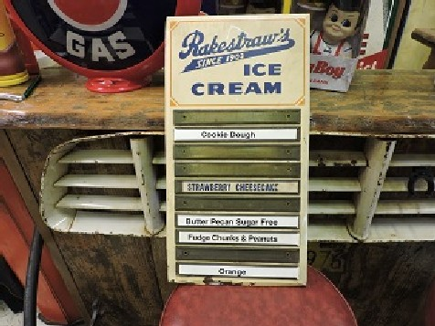 Original 1950s Rakestraws ice cream menu board