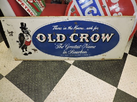 Old Crow bourbon embossed tin sign