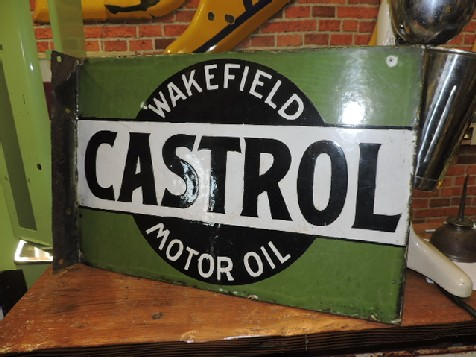 Early Wakefield Castrol double sided enamel flange sign