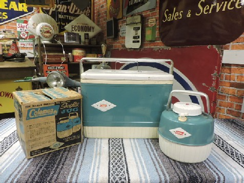Original Coleman cooler and NOS hot and cold Snowlite thermajug thermos