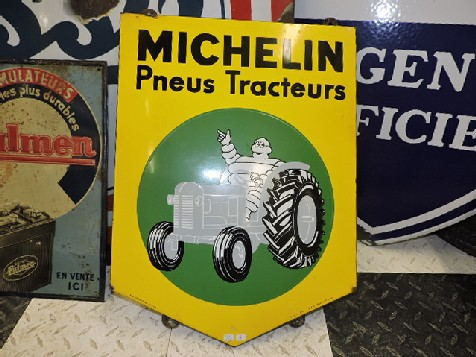 Original enamel Michelin tractor tyre sign
