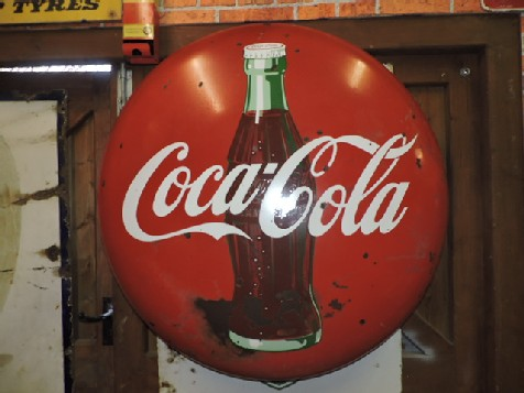 Original Coca Cola 3ft enamel button sign