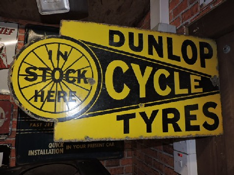 Original enamel double sided dunlop cycle tyres sign