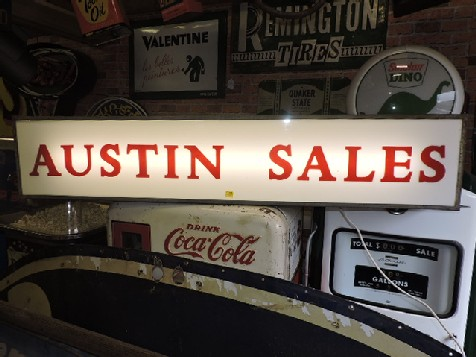 Original Austin sales dealership light box