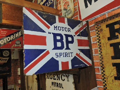 1920s BP spirit flange enamel sign