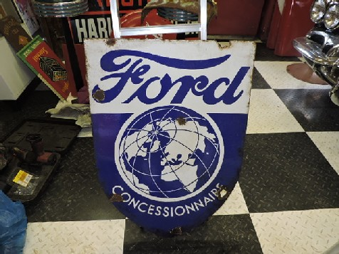 1950s Double sided enamel Ford Concessionnaire shield sign