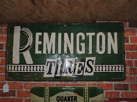 1966 tin embossed Remington tires sign