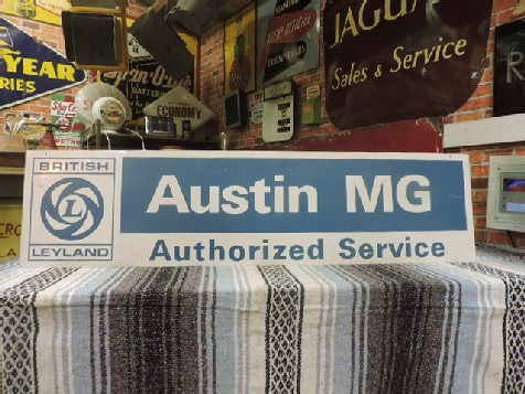 American British Leyland Austin MG Authorized Service tin sign