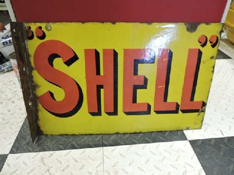 Shell double sided enamel flange sign